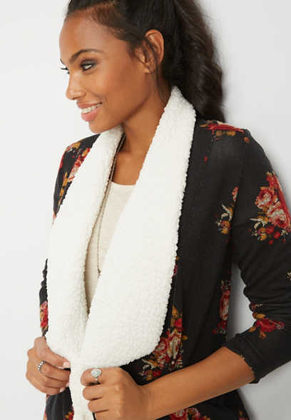 floral sherpa cardigan