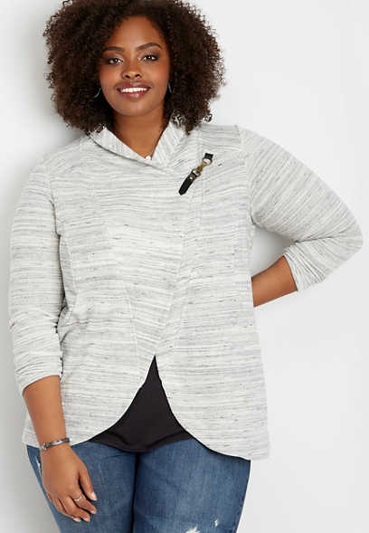 plus size asymmetrical spacedye hook closure cardigan