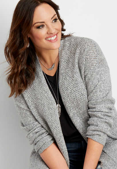 plus size mesh stitch sweater cardigan