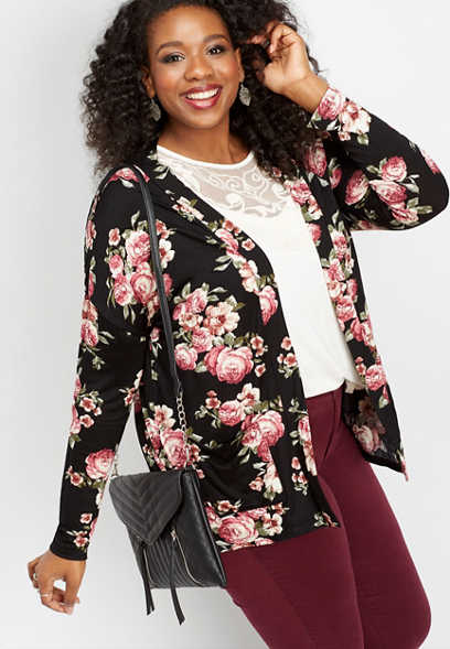 plus size floral pocket cardigan