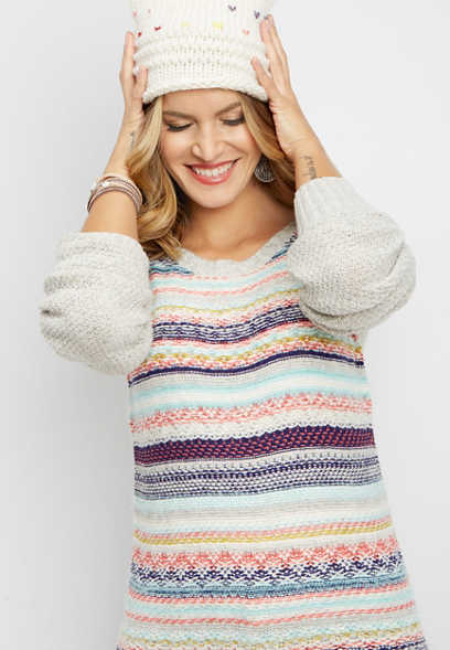 fairisle boat neck pullover sweater