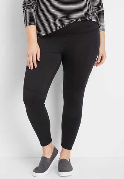 plus size black 7/8 pocket active legging