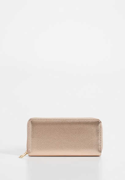 metallic single zip around wallet