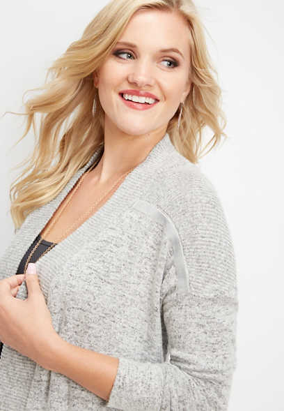 brushed velvet trim cardigan