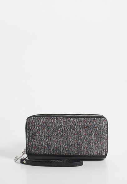 tweed polka dot wristlet