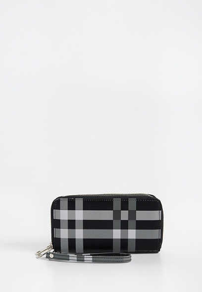plaid double zip around wallet