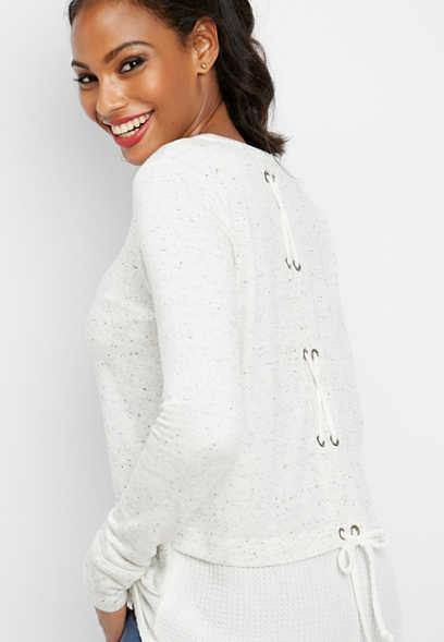 back lace up thermal tunic pullover