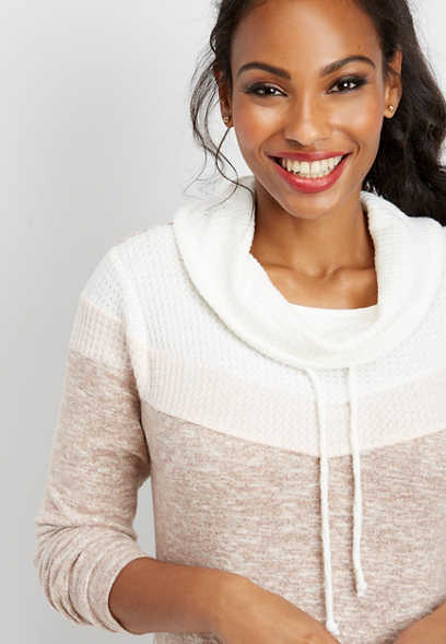 brushed thermal cowl neck sweatshirt
