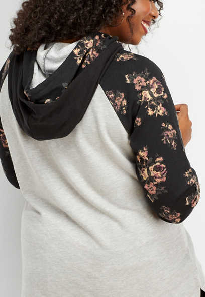 plus size floral sleeve double hood tunic sweatshirt