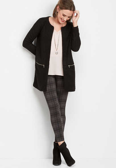 solid zipper tunic cardigan