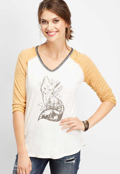 fox graphic baseball tee