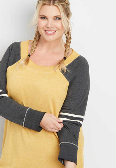 plus size long sleeve tunic football pullover