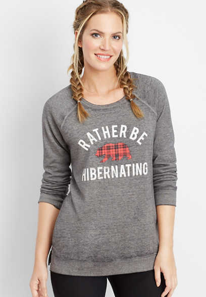 rather be hibernating graphic pullover