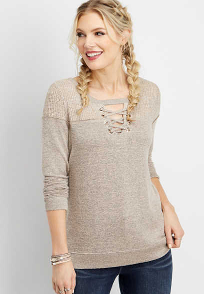 brushed lace up sweater