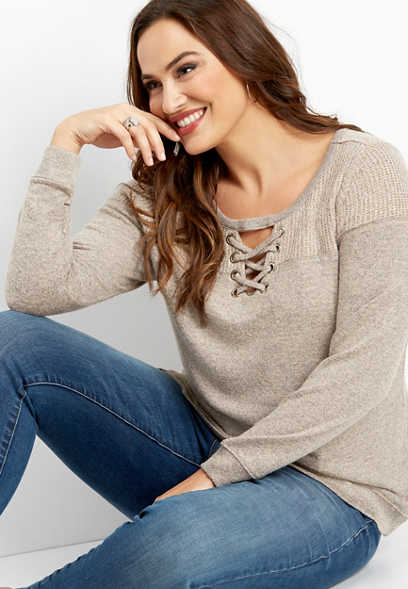 plus size brushed lace up sweater