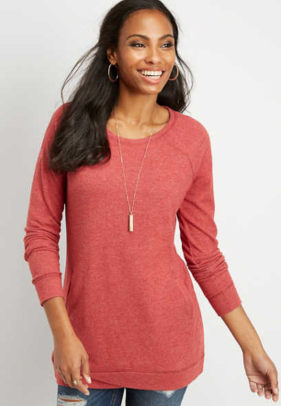 brushed tulip front tunic pullover
