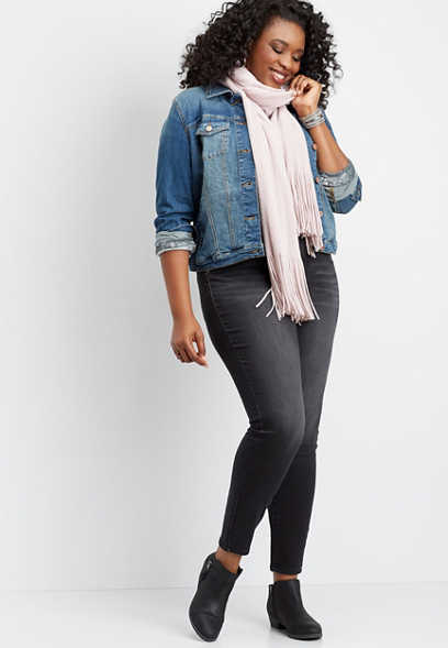 plus size DenimFlex™ black super soft color jegging
