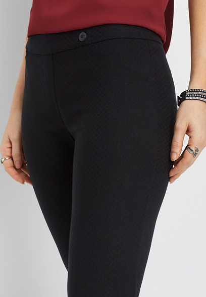 pull on textured skinny ankle pant