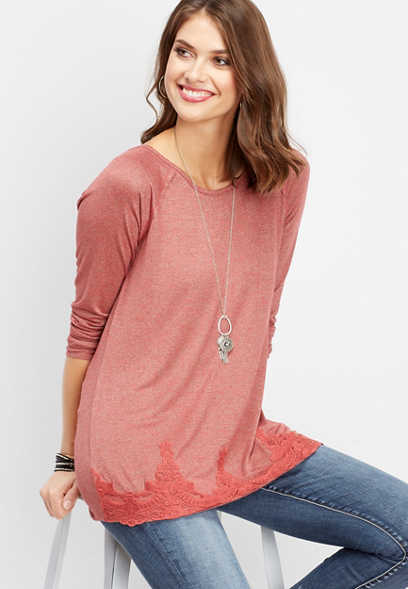 solid lace hem tunic top