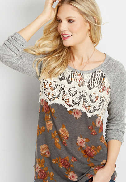 crocheted bust floral tee