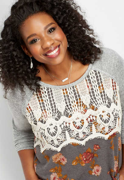 plus size floral crocheted bust tee