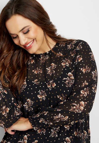 plus size floral ruffled neck top