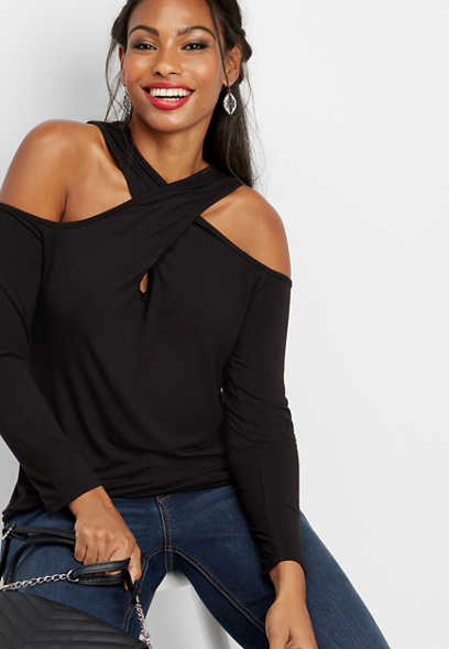 solid cold shoulder wrap tee