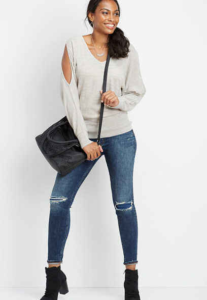 solid open sleeve pullover