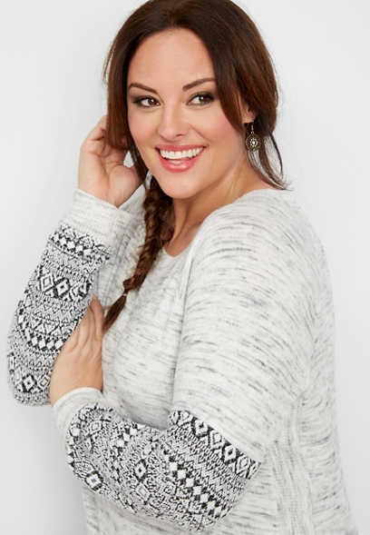 plus size brushed fairisle sleeve sweatshirt