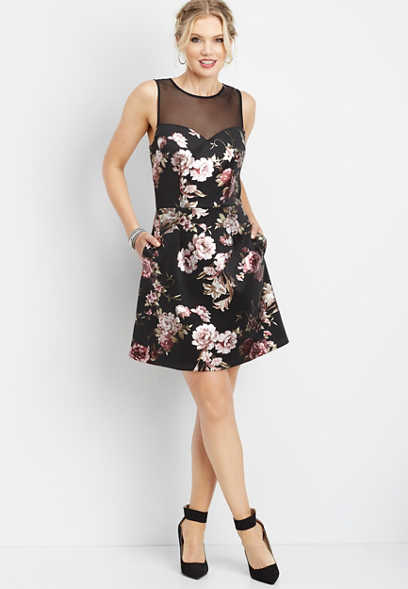 floral illusion neck dress