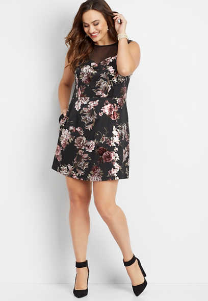 plus size floral illusion neck dress