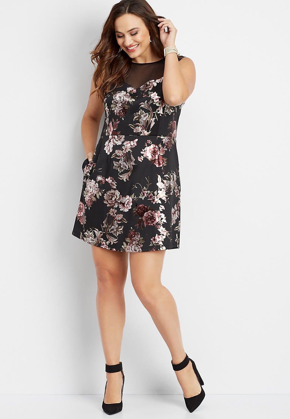 plus size floral illusion neck dress | maurices