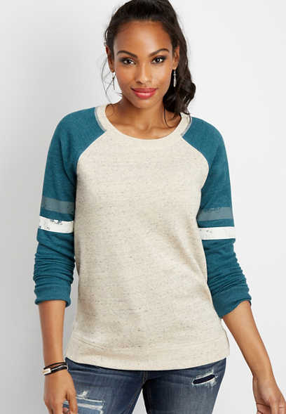 speckled basic football sweatshirt