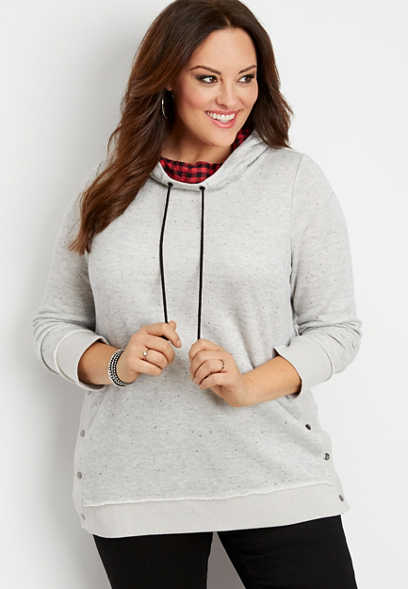plus size snap side plaid hood pullover