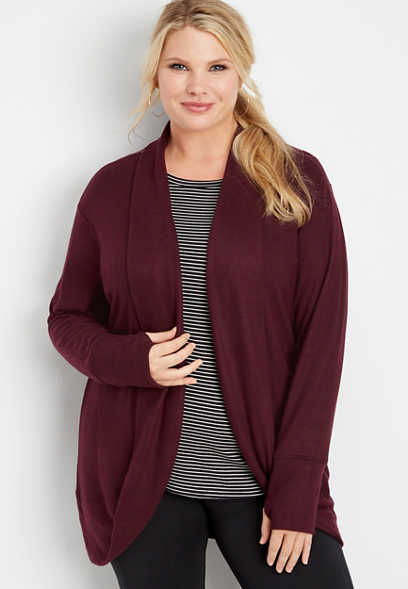 plus size athleisure cocoon cardigan