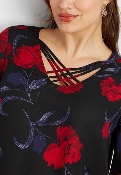 plus size floral print lattice neck blouse