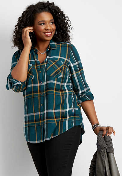 plus size double pocket plaid button down shirt