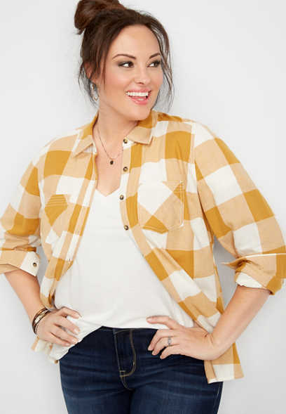plus size plaid stitch pocket button down shirt