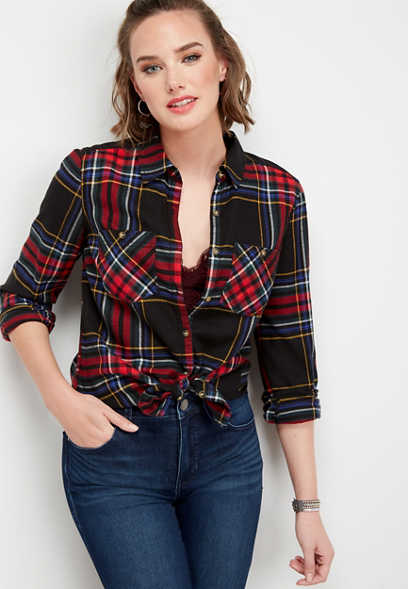 double pocket plaid button down shirt