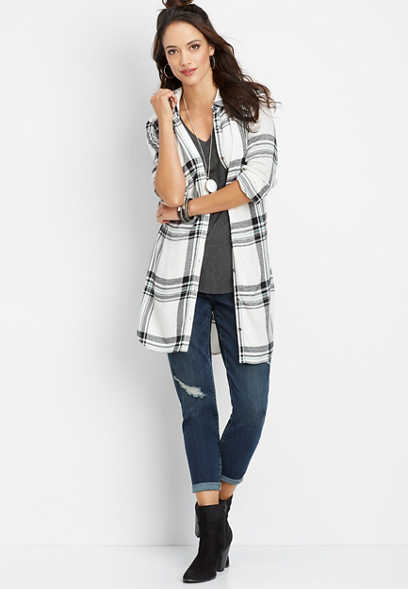 plaid button down tunic shirt