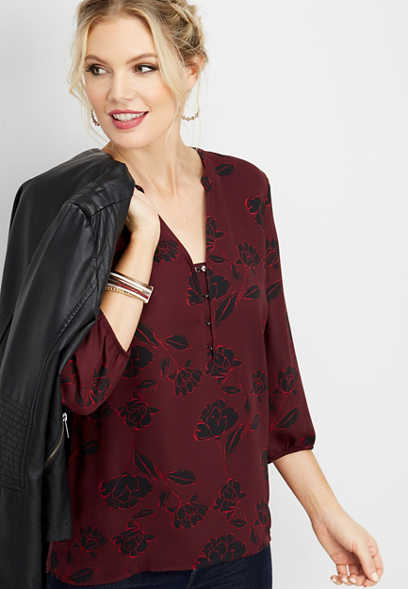 floral hook and eye blouse