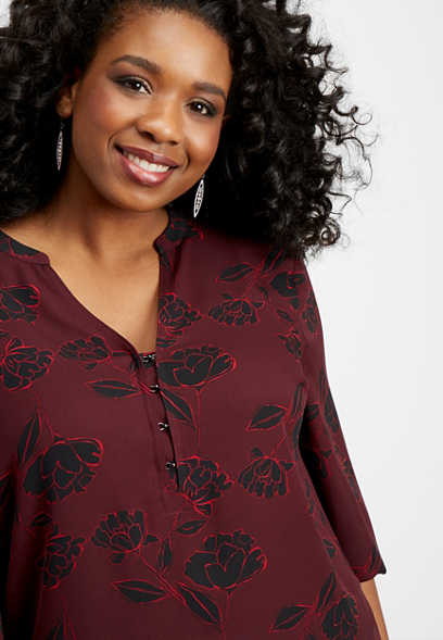 plus size floral hook and eye blouse