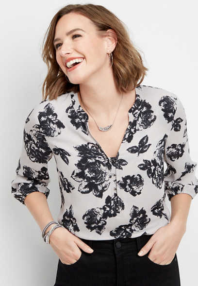 hook and eye floral blouse
