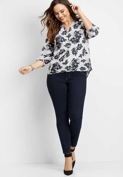plus size hook and eye floral blouse