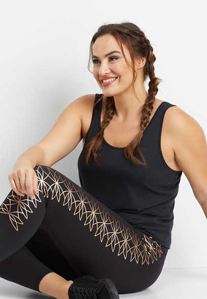 plus size 7/8 length metallic side legging