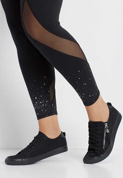 plus size metallic star 7/8 active legging
