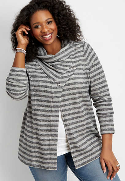 plus size asymmetrical snap neck stripe cardigan