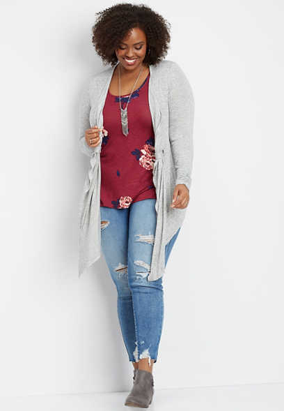 plus size open front tab cardigan