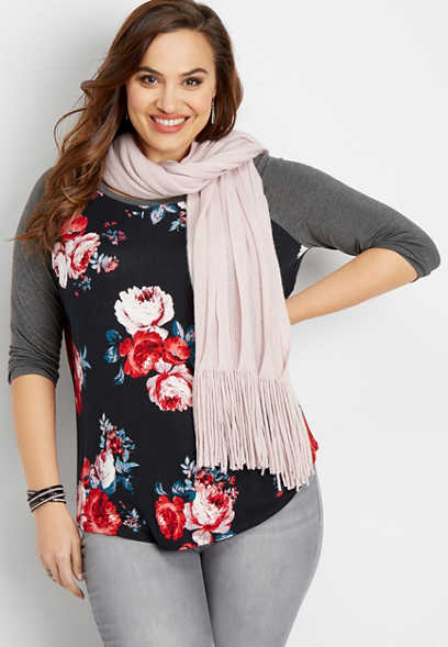 plus size 24/7 scoop neck floral baseball tee