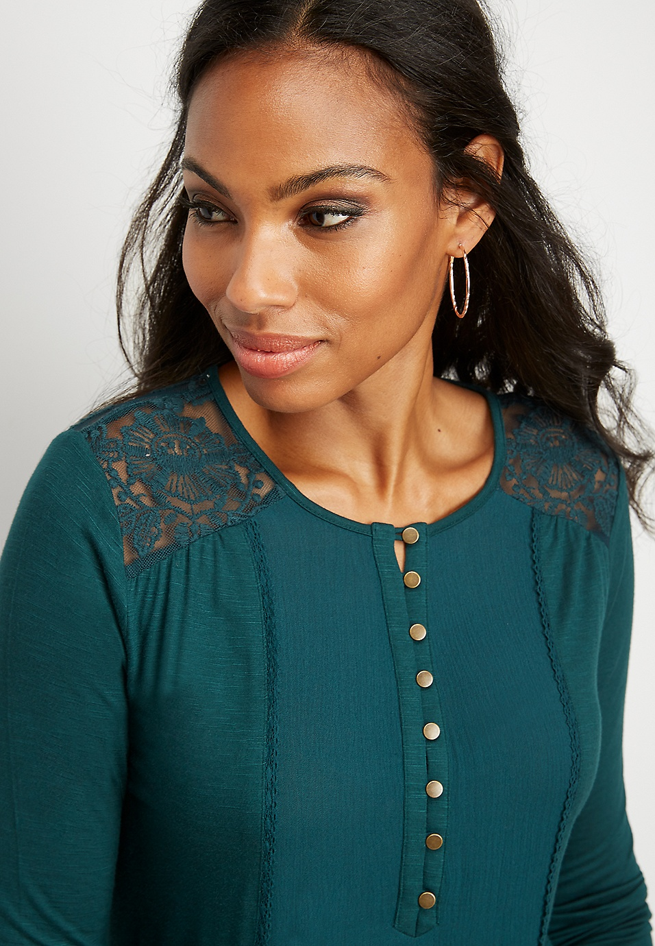 0f4ef63bdff embroidered mesh yoke top | maurices